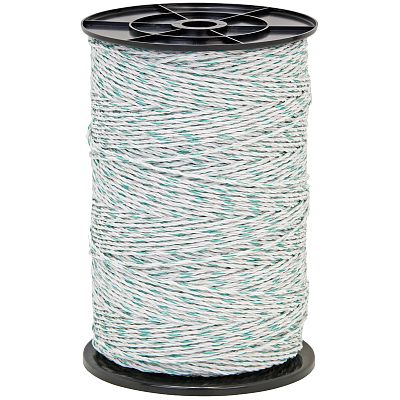 Polywire for electric fence, diameter 3 mm, green-white